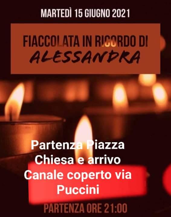 MARTEDI' 15 GIUGNO - FIACCOLATA IN RICORDO DI ALESSANDRA E DI TUTTE LE DONNE VITTIME DI VIOLENZA